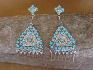 Zuni Indian Jewelry Sterling Silver Turquoise Triangle Dangle Earrings!