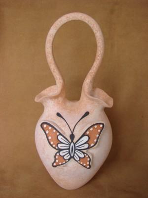 Native American Handmade Clay Butterfly Wedding Vase by Tony Lorenzo! Zuni Pueblo