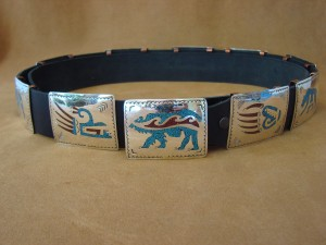 Native American Jewelry Turquoise and Coral Chip Inlay Nickel Silver Concho Belt Terry Begay