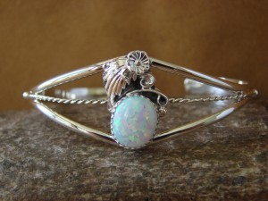 Navajo Indian Jewelry Sterling Silver Opal Bracelet by R. Pino