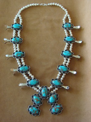 Native American Jewelry Nickel Silver Turquoise Squash Blossom Necklace