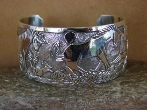 Native American Jewelry Sterling Silver Storyteller Horse Bracelet - Becenti