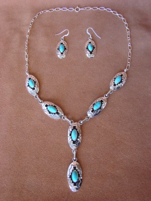 Navajo Jewelry Shadow Box Turquoise Sterling Silver Link Necklace Earrings Set by Bobby Platero