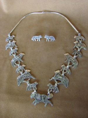 Native American Jewelry Sterling Silver Storyteller Wolf Necklace and Earring Set - Becenti