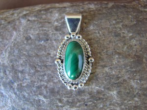 Navajo Indian Jewelry Sterling Silver Malachite Pendant by Jan Mariano