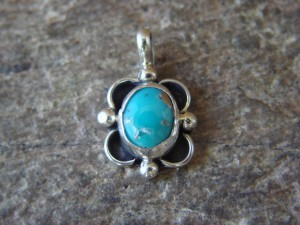 Navajo Indian Jewelry Sterling Silver Turquoise Pendant by Jan Mariano