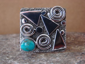 Native American Sterling Silver Turquoise Stamped Ring by Alex Sanchez Size 9 1/2