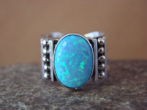 Native American Indian Jewelry Sterling Silver Opal Ring, Size 8 Kenneth