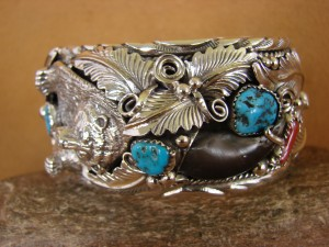 Navajo Indian Turquoise Coral Sterling Silver Bear Bracelet - Thomas