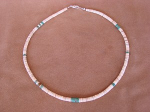 Santo Domingo Indian Hand Strung Heishi & Turquoise Necklace by Delbert Crespin