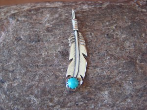 Navajo Indian Jewelry Sterling Silver Turquoise Feather Pendant!