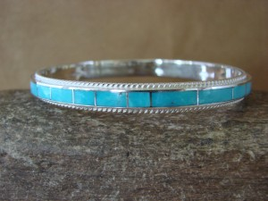 Zuni Indian Jewelry Sterling Silver Turquoise Inlay Bangle Bracelet by Ricky Booqua