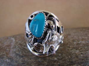 Navajo Indian Hand Stamped Sterling Silver & Turquoise Wolf Ring Size 10.5