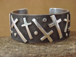 Native American Jewelry Sterling Silver Cross Bracelet Ernest Rangel