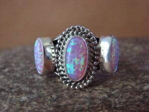 Navajo Indian Sterling Silver Handmade Opal Ring by Yazzie! Size 9