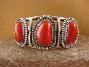 Native American Jewelry Sterling Silver Coral Bracelet! Raymond Delgarito