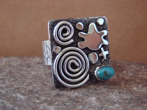 Native American Sterling Silver Turquoise Stamped Ring by Alex Sanchez Size 8