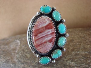 Navajo Sterling Silver Spiny Oyster Turquoise Ring Size 8 - G. Boyd