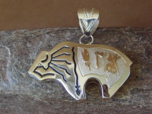 Navajo Indian Jewelry Sterling Silver Gold Buffalo Pendant by A. Mariano