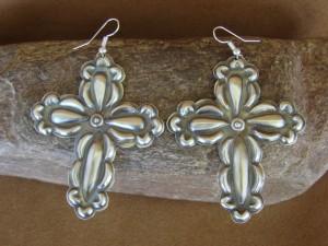 Navajo Indian Jewelry Handmade Sterling Silver Cross Earrings - Tim Yazzie