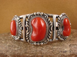 Native American Jewelry Sterling Silver Coral Bracelet! Raymond Delgarito 1