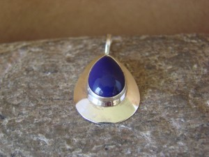 Native American Sterling Silver Oval Lapis Pendant by Russel Wilson Navajo