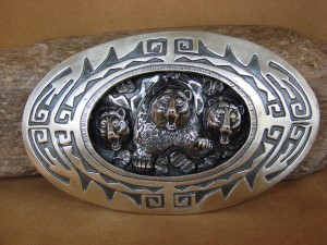 Native American Jewelry Hand Stamped Sterling Silver Bear Belt Buckle by James