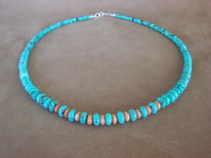 Native American Indian Hand Strung Turquoise and Spiny Oyster Graduated Rondelle Bead Necklace