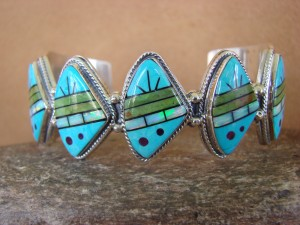 Navajo Indian Jewelry Sterling Silver Turquoise Opal Inlay Bracelet Navajo Wallace Yazzie Jr