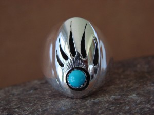 Native American Jewelry Sterling Silver Turquoise Bear Paw Men's Ring! Size 10 1/2