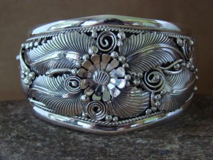 Large Navajo Indian Sterling Silver Bracelet by Jameson Delgarito