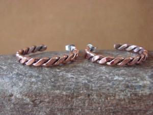Navajo Indian Hand Made Copper Hoop Earrings! By Verna Tahe