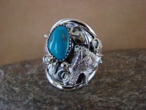 Navajo Indian Hand Stamped Sterling Silver & Turquoise Wolf Ring Size 11.5