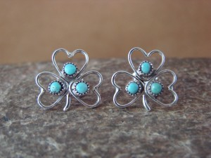 Zuni Indian Jewelry Sterling Silver Turquoise Shamrock Post Earrings by Pablito