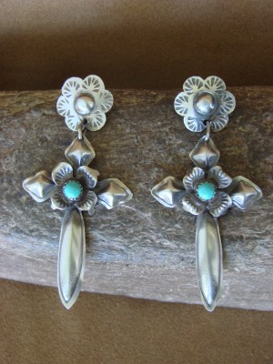 Navajo Indian Jewelry Handmade Sterling Silver Turquoise Cross Earrings - Tim Yazzie
