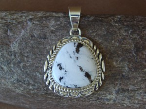 Native American Indian Jewelry Sterling Silver White Buffalo Turquoise Pendant
