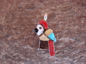 Zuni Indian Jewelry Sterling Silver Inlay Parrot Pendant by Stephen Lonjose