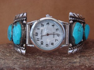 Native American Indian Jewelry Sterling Silver Turquoise Watch