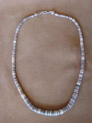 Native American Santo Domingo Voluta Shell Heishi Necklace - Jeanette Calabaza