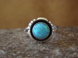 Native American Jewelry Sterling Silver Opal Ring by Begay! Size 8 1/2