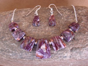 Native American Sterling Silver Purple Spiny Oyster Earrings & Necklace Set!