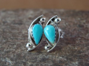 Zuni Indian Jewelry Sterling Silver Turquoise Tear Drop Post Earrings! Kanesta