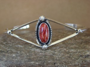 Navajo Indian Jewelry Sterling Silver Spiny Oyster Bracelet by G. Kenneth