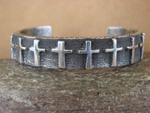Native American Jewelry Sterling Silver Cross Bracelet Ernest Rangel