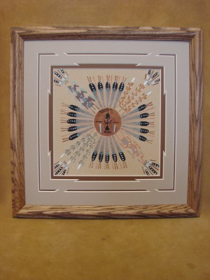 Native American Indian Authentic Navajo Sandpainting by Tracy Bryant