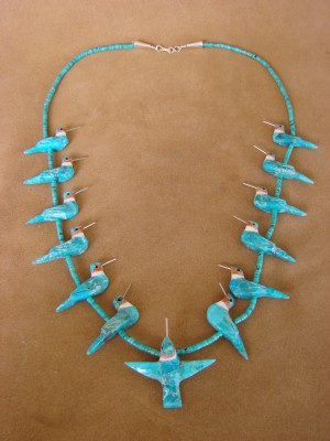 Hand Carved Turquoise Hummingbird Fetish Necklace Matt Mitchell!