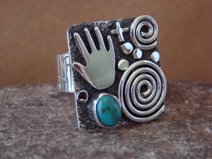 Native American Sterling Silver Turquoise Stamped Ring by Alex Sanchez Size 9