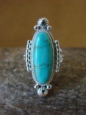 Native American Jewelry Sterling Silver Turquoise Ring! Size 8 Yellowhair