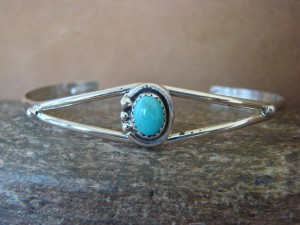 Native American Jewelry Sterling Silver Turquoise Bracelet! Wood