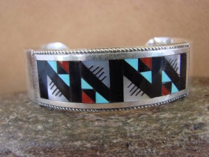 Zuni Indian Sterling Silver Multistone Inlay Bracelet!